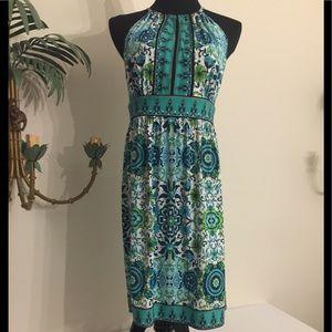 London times lime grn navy aqua Print dress Sz 10